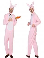 Witte en roze konijnen kostuum voor volwassenen