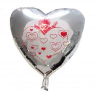 Zilverkleurig cupido ballon