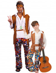Hippie koppelkostuum voor vader en zoon