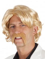 Blonde pruik met snor
