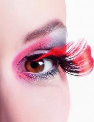 Valse wimpers XL zwart en rood voor volwassenen