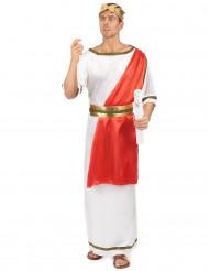 Klassiek wit met rood Romeinse keizer toga kostuum voor mannen