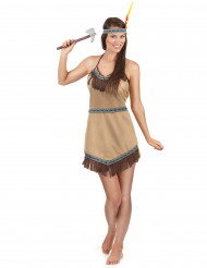 Klassiek beige indianenkostuum voor vrouwen