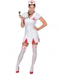 Sexy verpleegster kostuum met hoofdkapje voor vrouwen