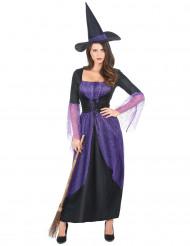 Zwart met paars heksen kostuum voor vrouwen