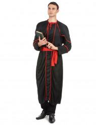 Zwarte en rode bisschop kostuum voor heren