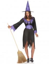 Paarse heksen kostuum voor dames