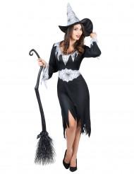 Zwart met wit heksen kostuum voor vrouwen