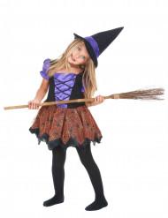 Paars en oranje heksen kostuum voor meisjes