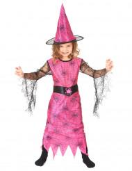 Verkleedkostuum spin heks roze voor meisjes Halloween pak