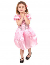 Roze prinses kostuum met zilverkleurige randen voor meisjes