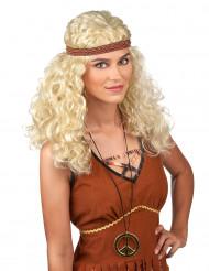 Blonde hippiepruik voor dames