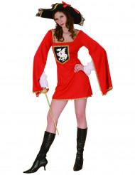 Verkleedkostuum mousketier rood voor dames Feestkleding