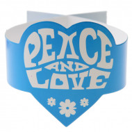 Turquoise Hippie Peace and Love servetringen