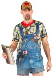 Fop-shirt denim tuinbroek voor volwassenen