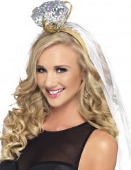 Bruidssluier haarband met diamant voor volwassenen