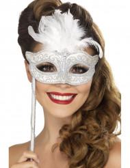 Venetiaans masker met witte veren voor volwassenen