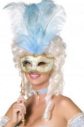 Blauw en goudkleurig Venetiaans masker voor volwassenen