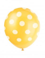 6 Ballonnen geel met witte stippen