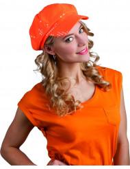 Oranje spangles glitter pet