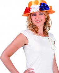 Oranje bloemen hoed in Hollandse kleuren