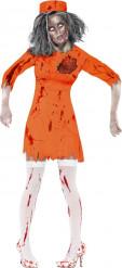 Verkleedkostuum zombie gevangene voor dames Halloween outfit