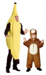 Bananen en apenkostuum vader en zoon