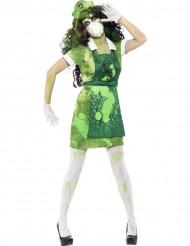 Verkleedkostuum voor dames zombie nucleaire wetenschapper Halloween artikel