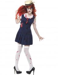 Zombie Halloween kostuum van schoolmeisje volwassenen