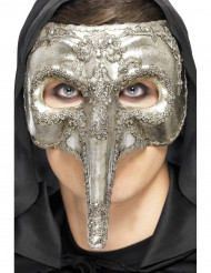 Zilverkleurig Venetiaans halfmasker met lange neus voor volwassenen