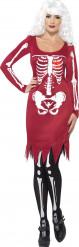 Verkleedkostuum rood Skelet voor dames Halloween