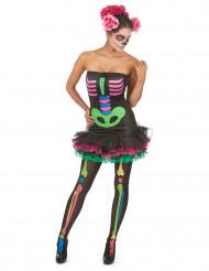 Gekleurd skeletkostuum voor vrouwen