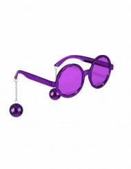 Paarse disco bril voor volwassen