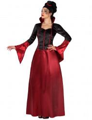 Rood en zwart Halloween kostuum van vampier voor dames