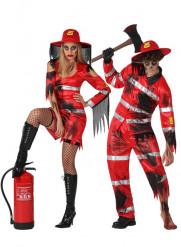 Vermomming zombie brandweer voor koppel