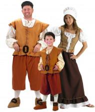 Familie vermomming middeleeuwse boeren
