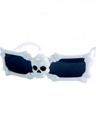 Witte bril met doodskop voor volwassenen Halloween