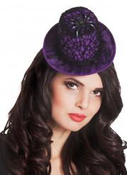 Mini paarse Halloween hoed in spinnenweb voor dames