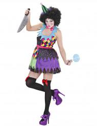 Verkleedkostuum duiverwekkende veelkleurige clown voor dames Halloween outfit