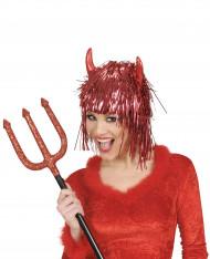 Metallic rode duivelspruik voor volwassenen