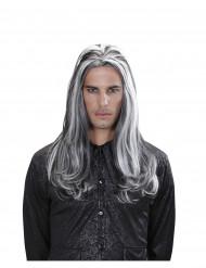 Lange tweekleurige vampier pruik voor volwassenen
