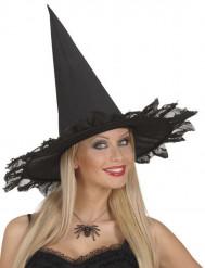 Spin halsketting zwart met strass voor volwassenen Halloween