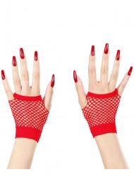 Rode vingerloze handschoenen voor volwassenen