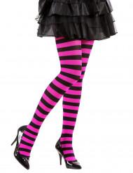 Zwarte en roze gestreepte legging voor volwassenen
