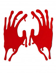 Bebloede hand sporen Halloween decoratie