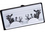Valse korte wimpers zwart voor volwassenen Halloween accessoire