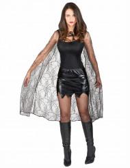 Zwarte Halloween cape met spinnenweb voor dames