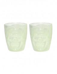 2 fluo doodskop glazen