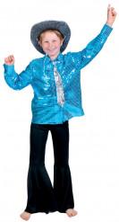 Blauwe disco glitter overhemd voor jongens
