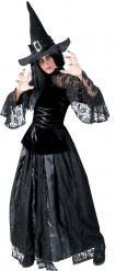Verkleedkostuum heks zwart kant voor dames Halloween kleding